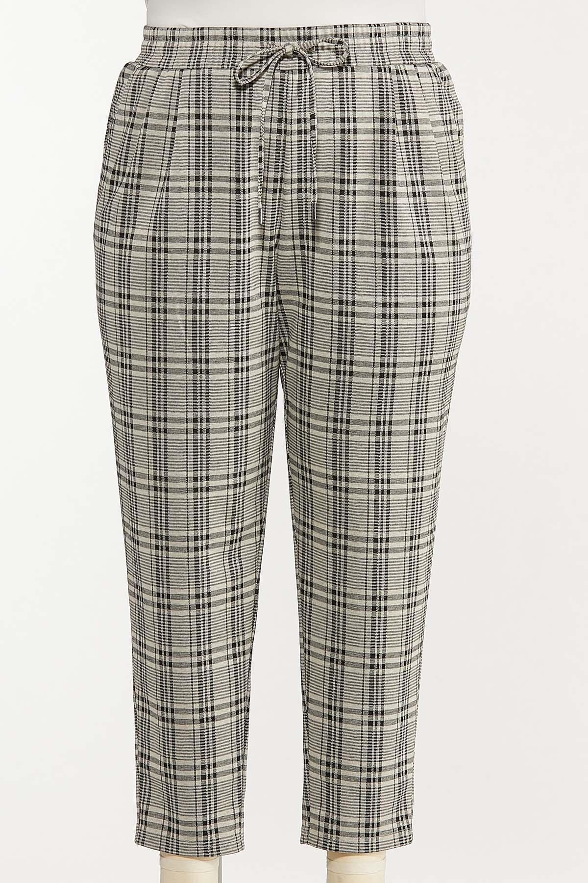 Plus Size Plaid Tie Waist Pants