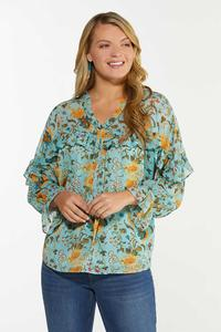 Plus Size Ruffled Teal Floral Top
