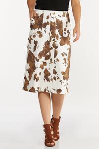 Plus Size Cow Print Midi Skirt