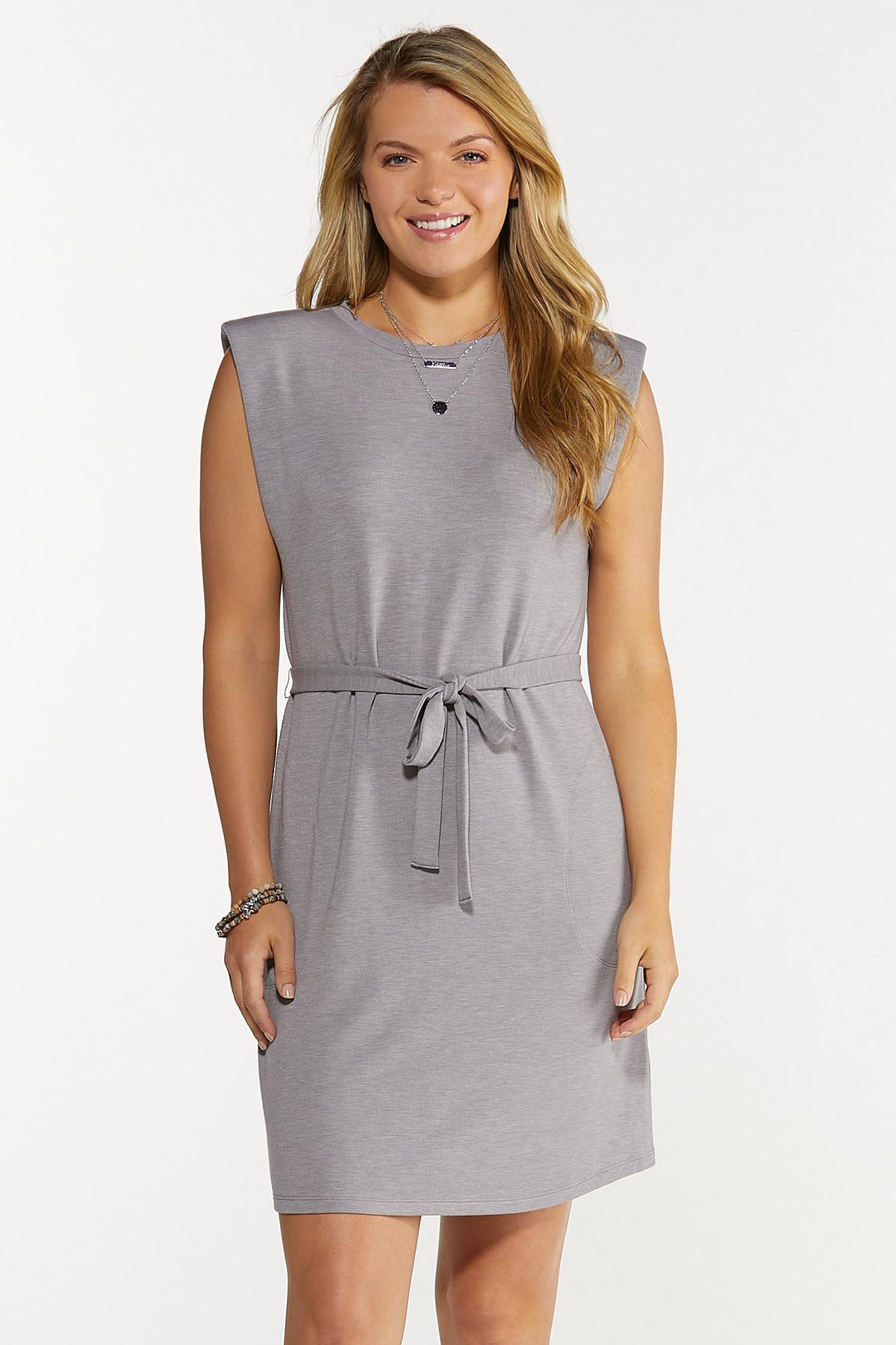Plus Size Belted Padded Shoulder Dress