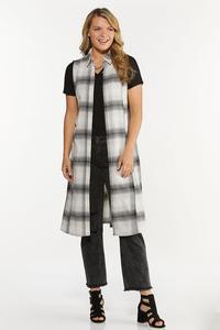 Plus Size Contrasting Plaid Vest