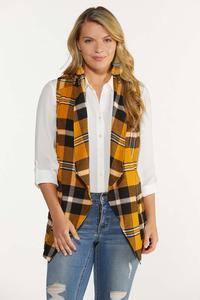 Plus Size Gold Plaid Vest