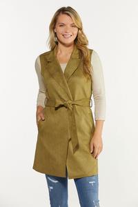 Plus Size Faux Suede Vest