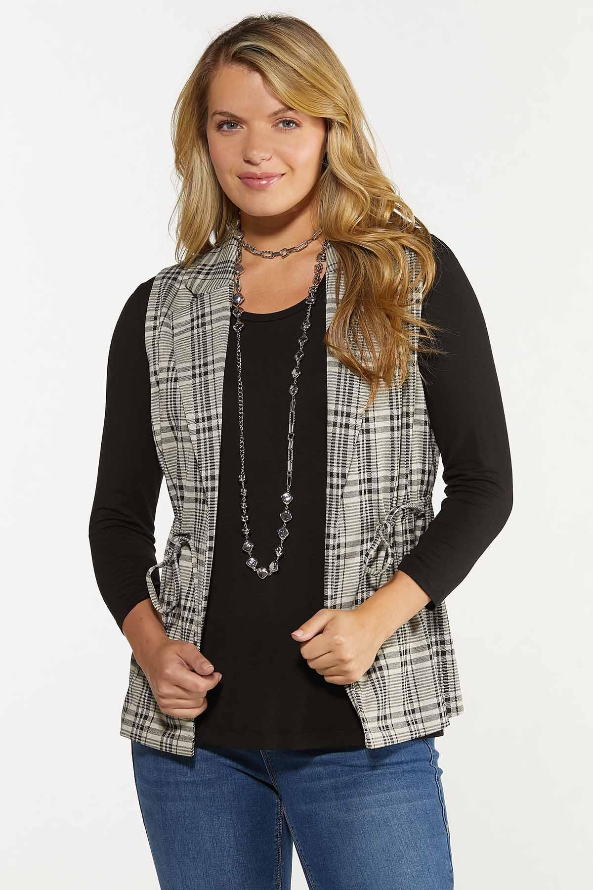 Plus Size Drawstring Plaid Vest