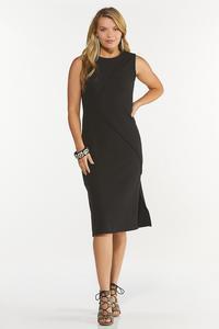 Plus Size Black Ribbed Midi Dress