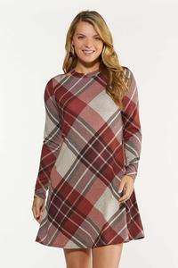 Plus Size Cutout Plaid Swing Dress