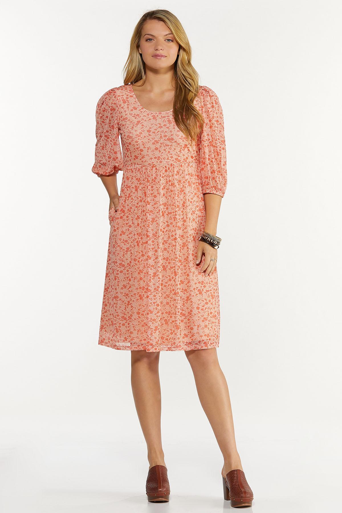 Plus Size Floral Mesh Babydoll Dress