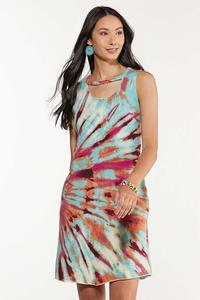 Plus Size Tie Dye Swing Dress