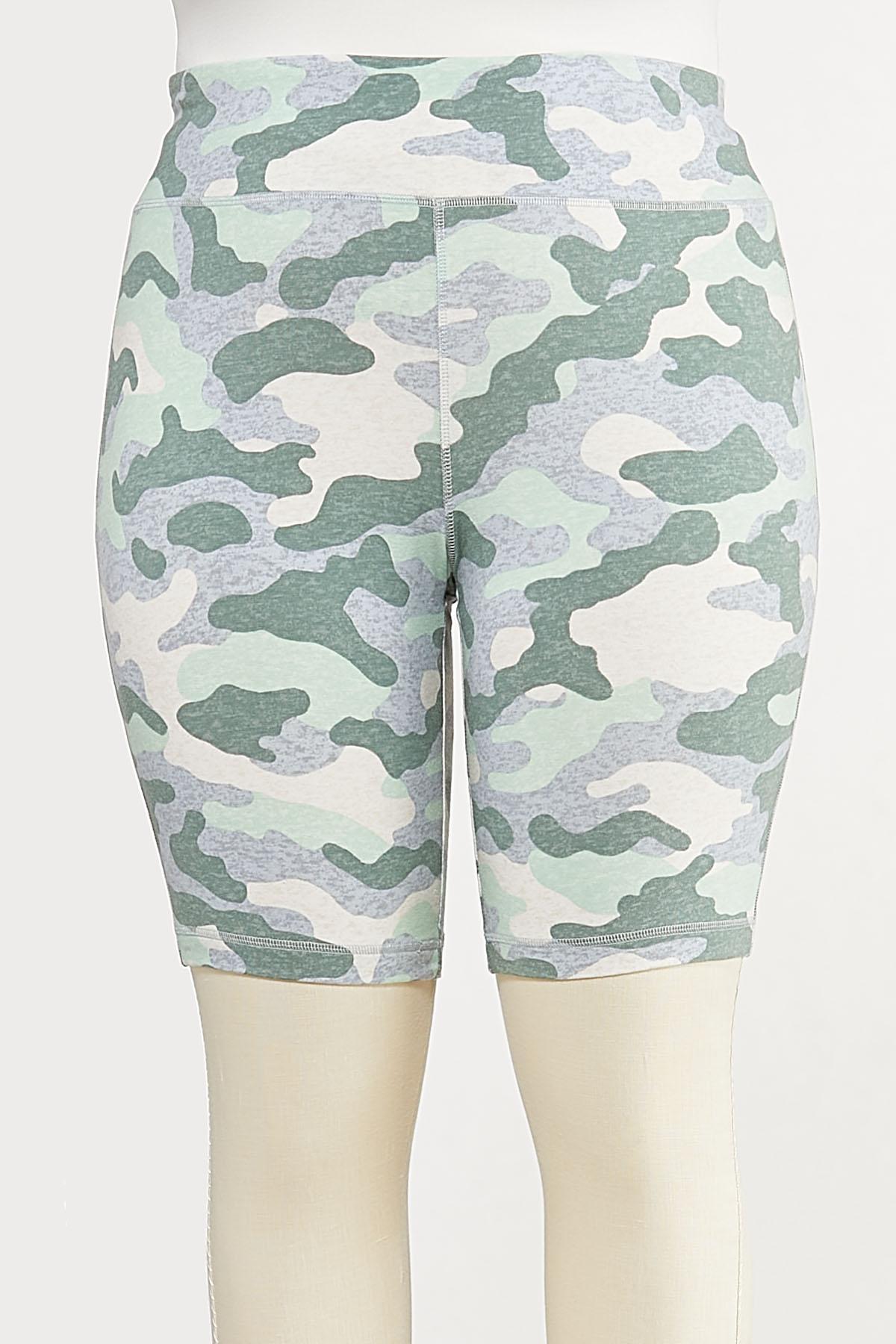 Plus Size Camo Biker Shorts