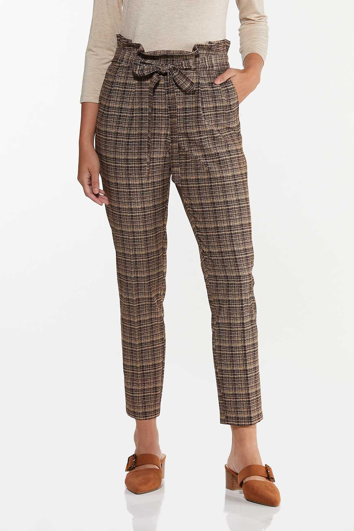 Brown Marled Tie Waist Pants