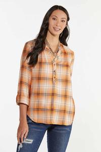 Plus Size Pumpkin Plaid Pullover Top