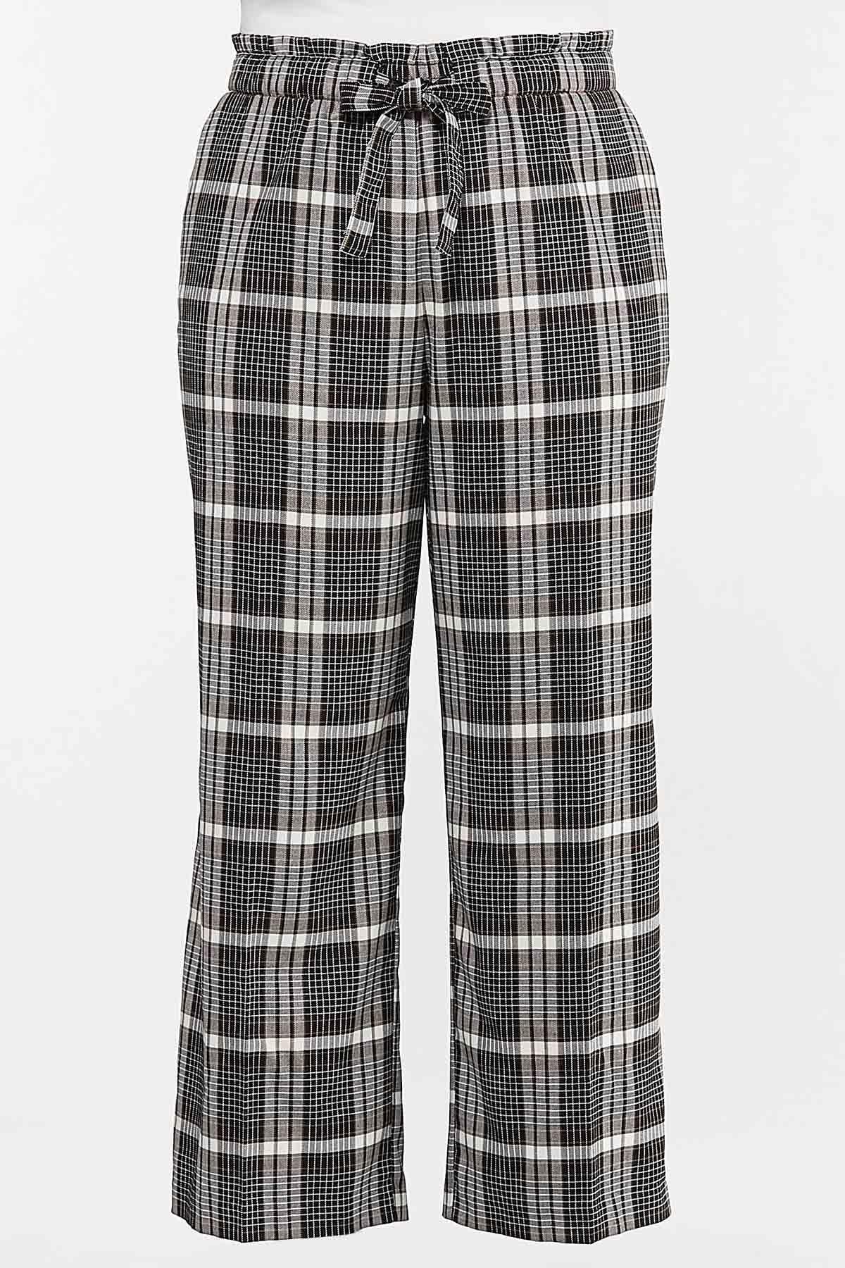 Plus Size Plaid Trouser Pants