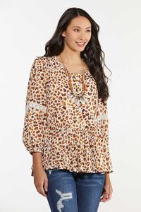 Plus Size Leopard Peplum Top
