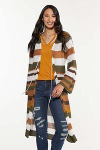 Plus Size Stripe Open Stitch Cardigan