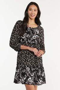Plus Size Twin Floral Swing Dress