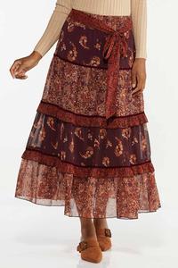 Plus Size Floral Paisley Skirt