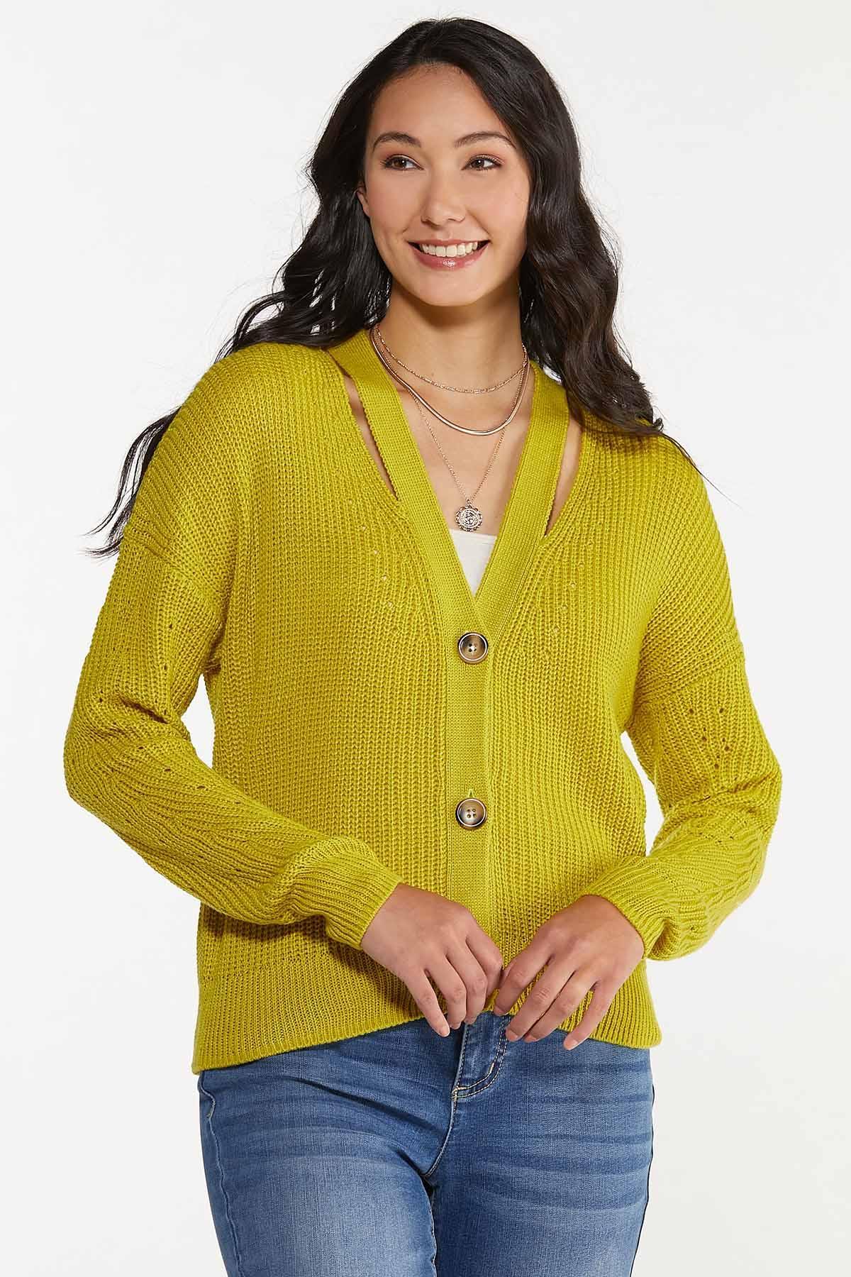 Plus Size Cutout Cardigan Sweater