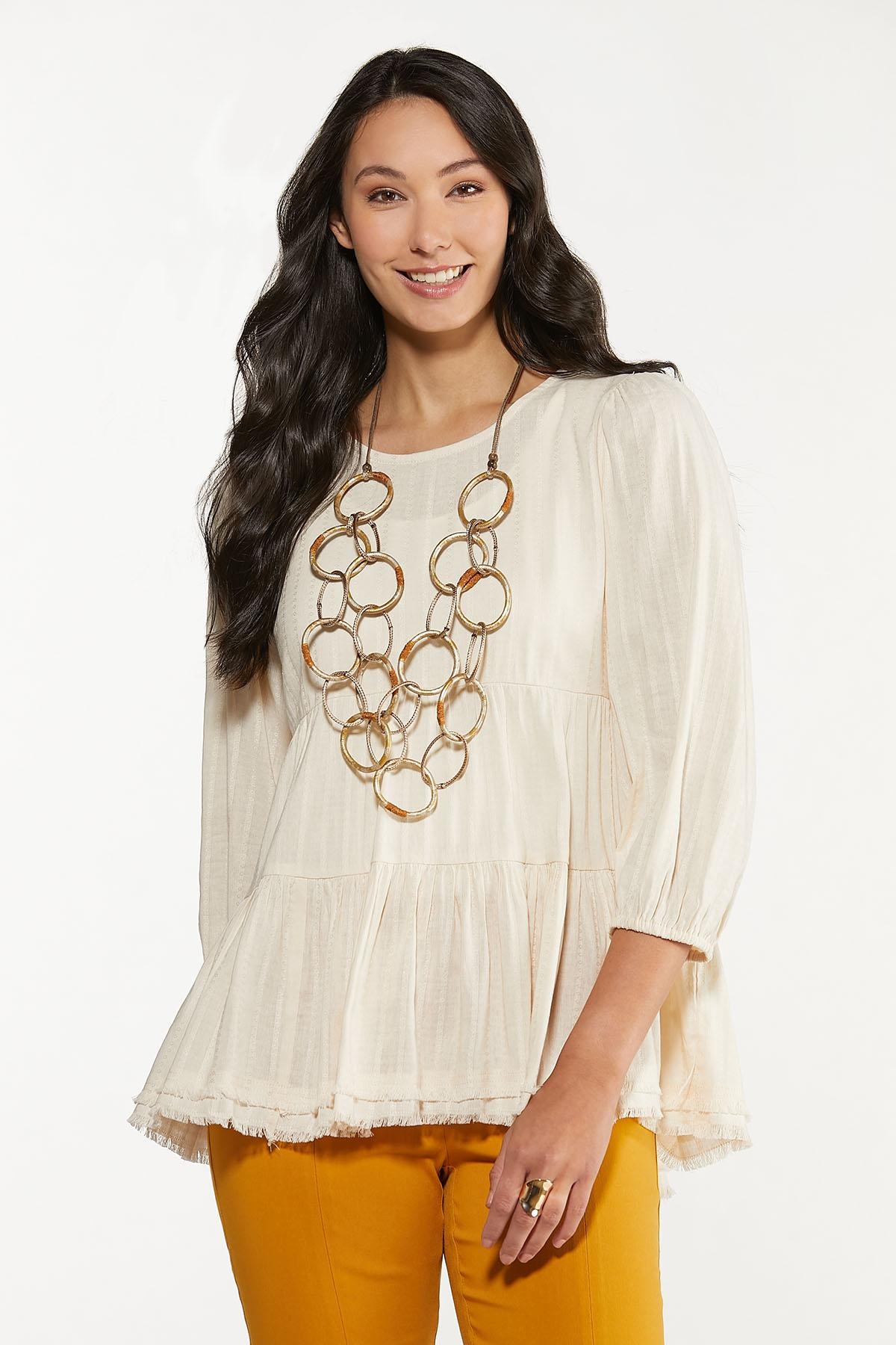 Plus Size Ivory Tiered Tunic