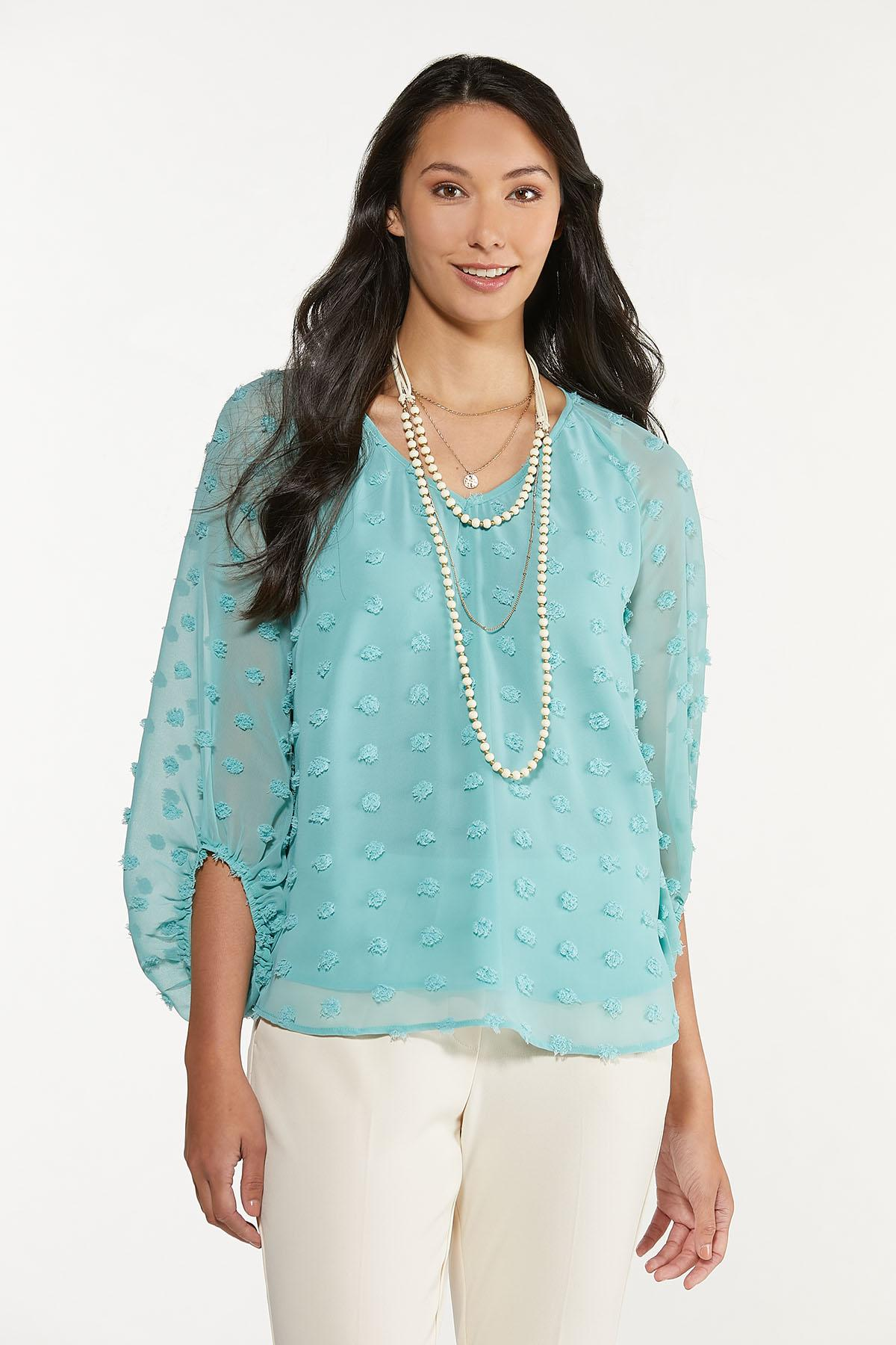 Plus Size Sky Textured Pullover Top