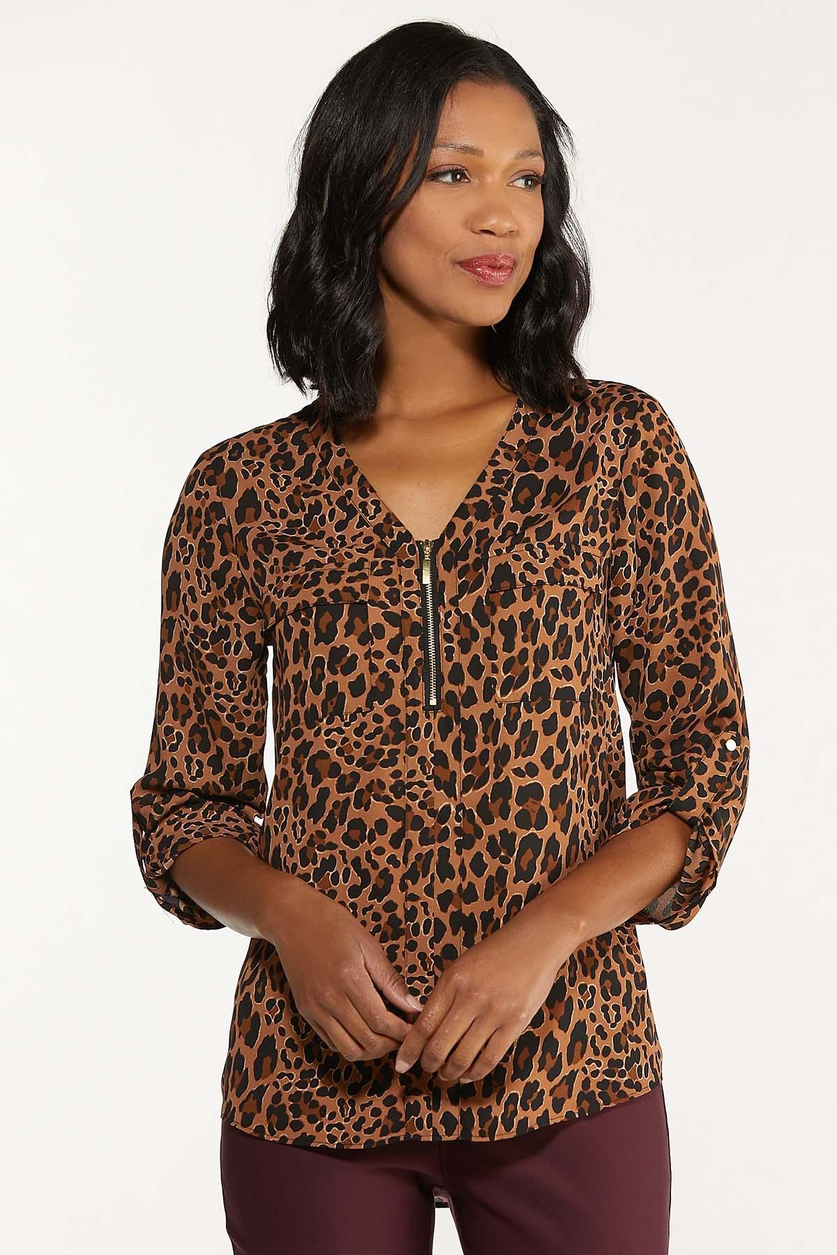 Leopard Zip Front Top