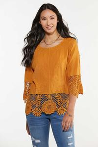 Plus Size Gold Embroidered Top