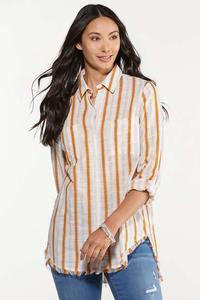 Frayed Gold Stripe Tunic
