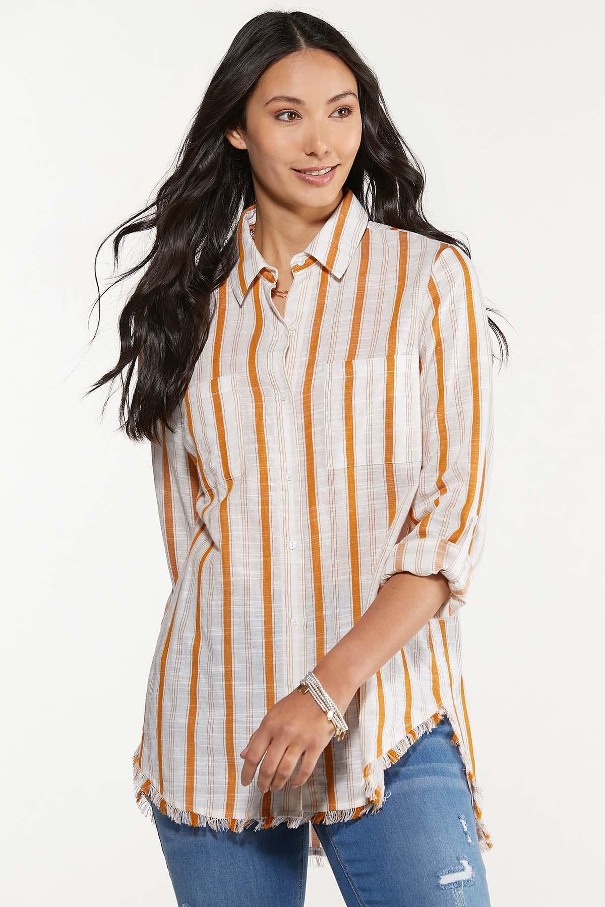 Plus Size Frayed Gold Stripe Tunic