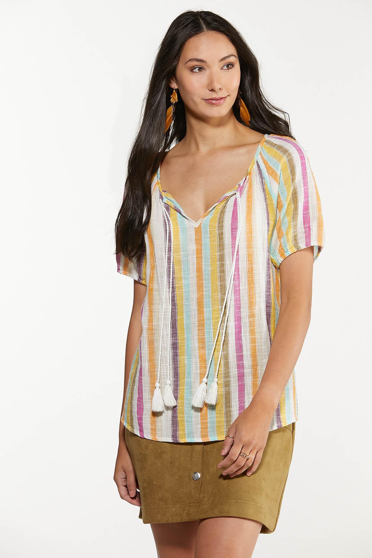 Plus Size Tasseled Multi Stripe Top