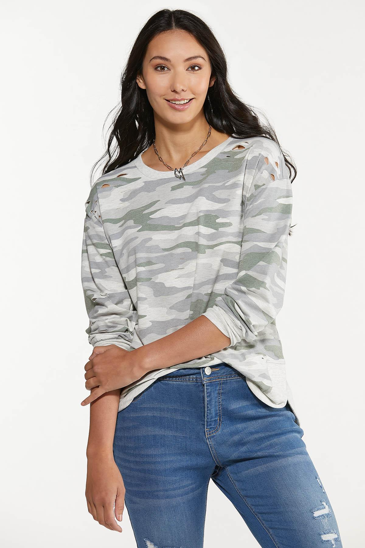 Plus Size Distressed Camo Sweatshirt