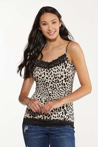 Plus Size Leopard Lace Trim Cami