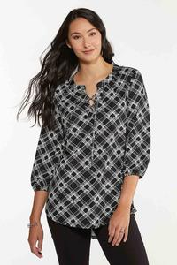 Lace Up Checkered Tunic