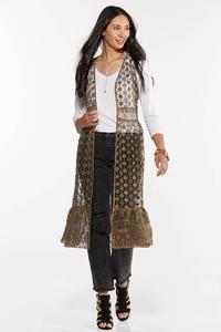 Plus Size Allover Crochet Vest
