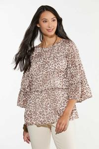 Plus Size Animal Print Tiered Top
