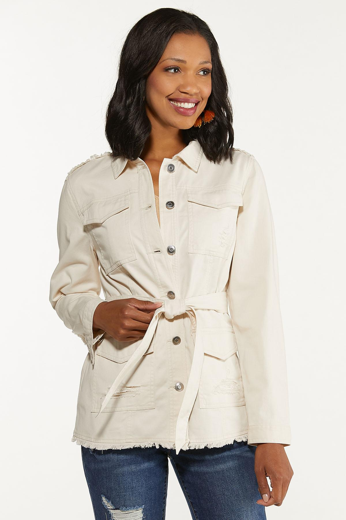 Plus Size Distressed Belted Jacket