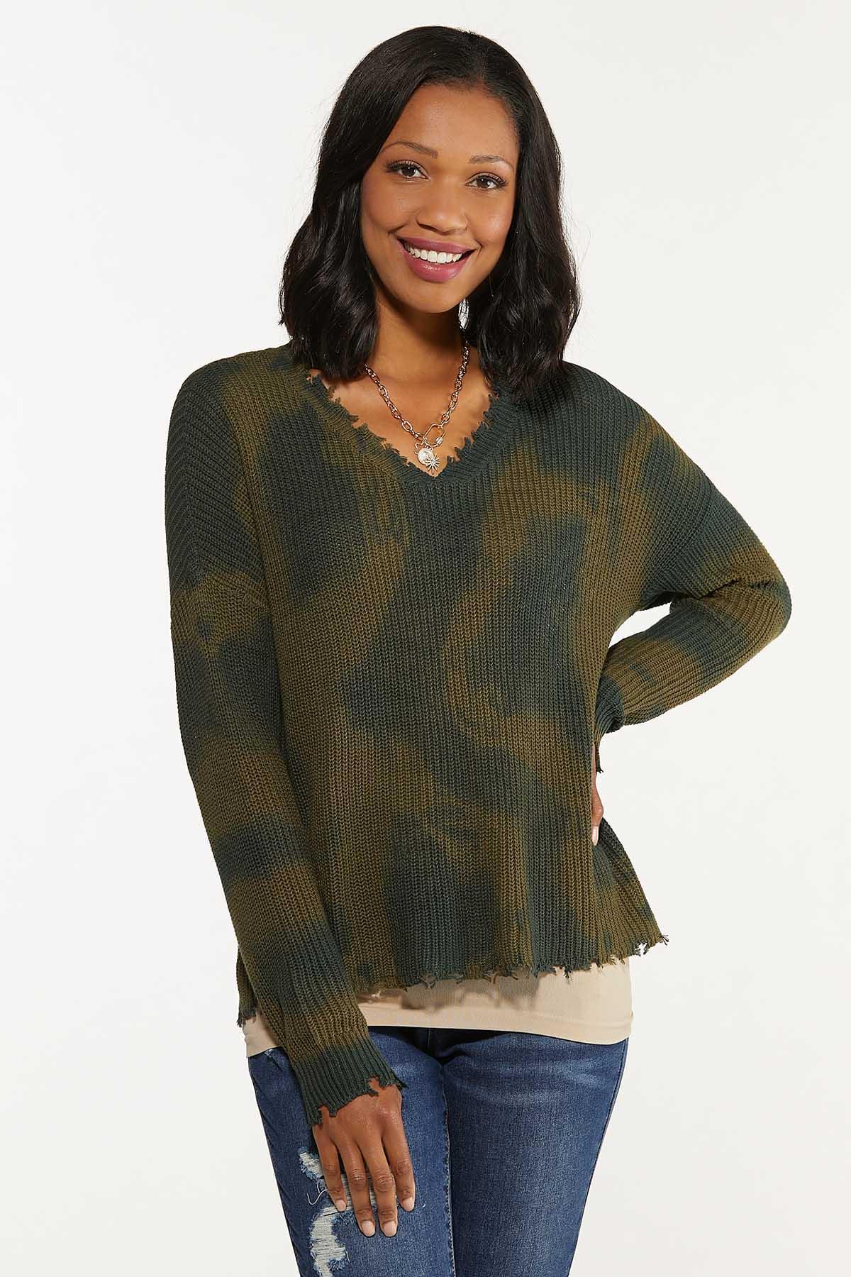 Distressed Camo Dye Sweater