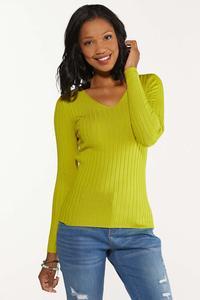 Plus Size Ribbed V-Neck Sweater