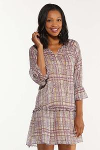 Plus Size Ruffled Sheer Plaid Dress