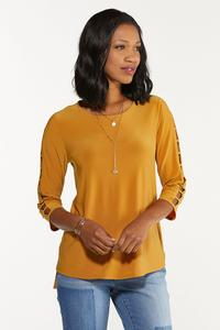 Plus Size Gold Ladder Sleeve Top