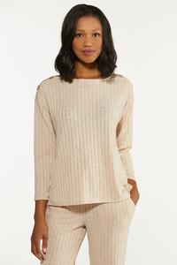 Plus Size Oatmeal Ribbed Top