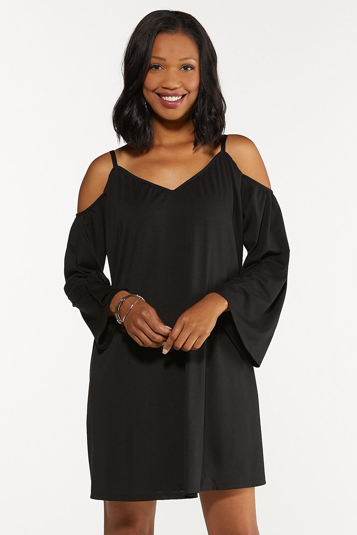 Plus Size Cold Shoulder Swing Dress