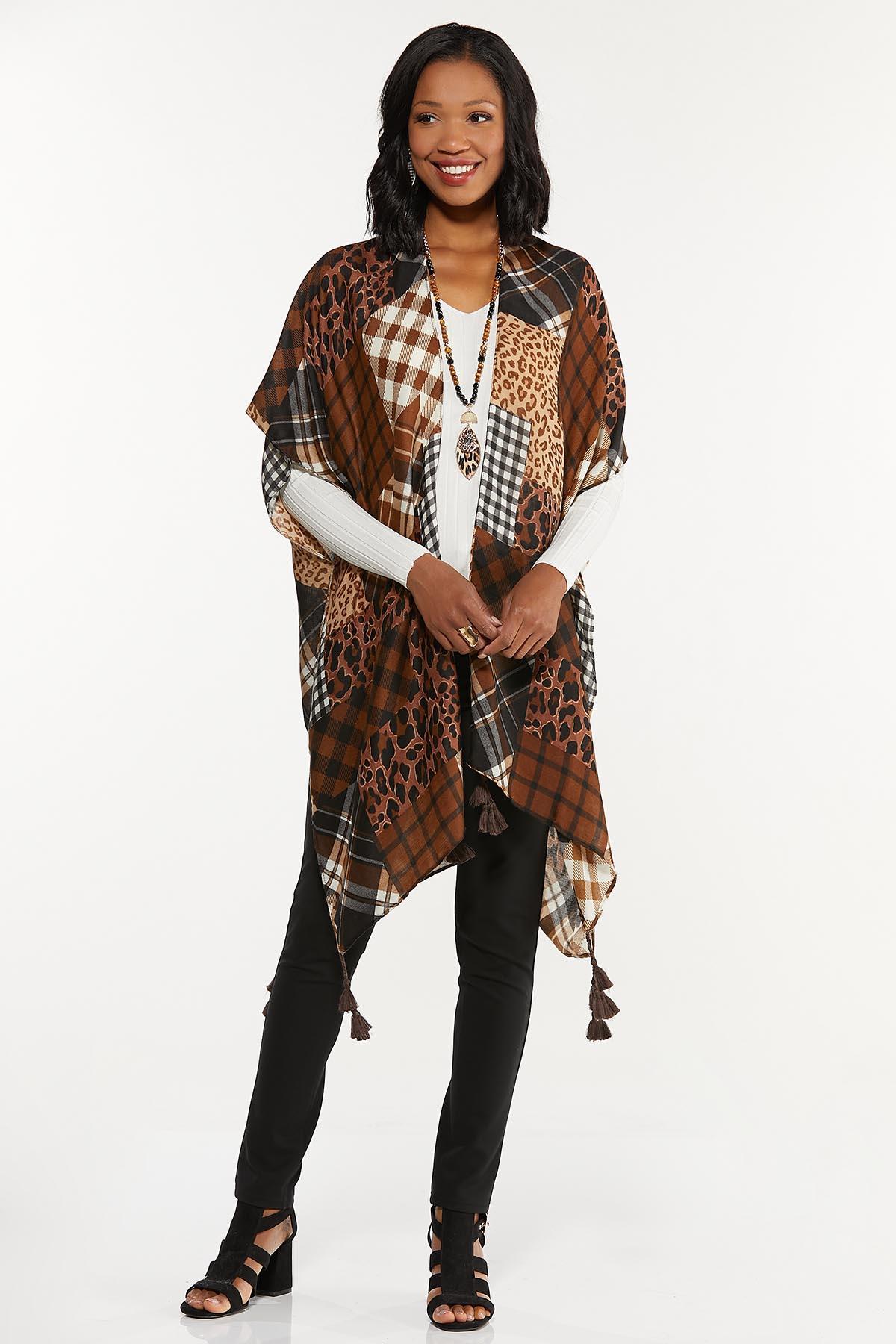 Mixed Patchwork Print Kimono
