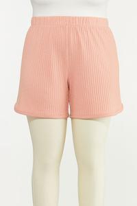 Plus Size Blushing Ribbed Shorts