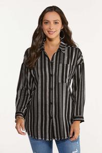 Plus Size Frayed Stripe Tunic