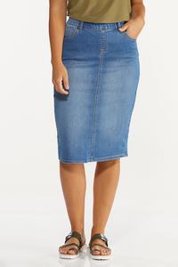 Plus Size Denim Pull-On Skirt