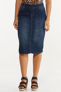 Plus Size Dark Denim Pull-On Skirt