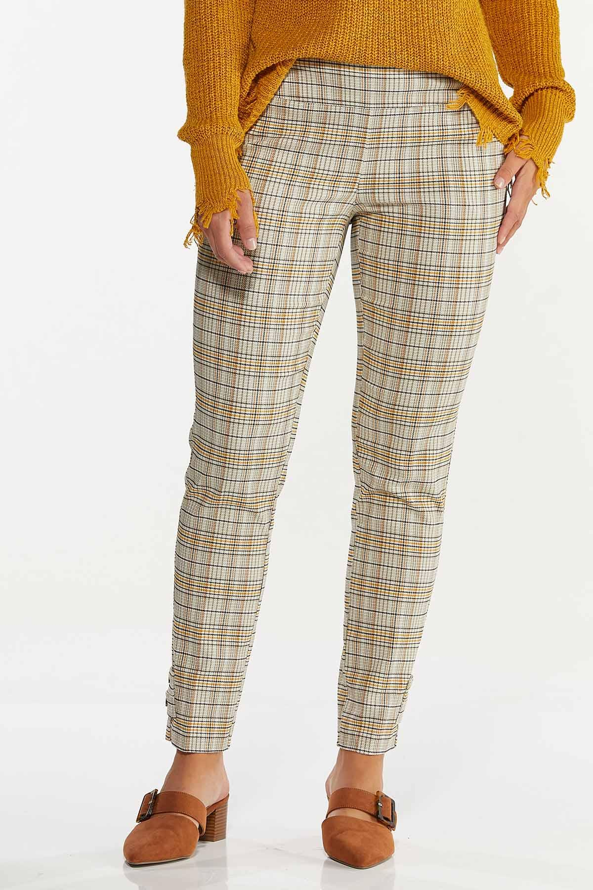 Gold Plaid Bengaline Pants