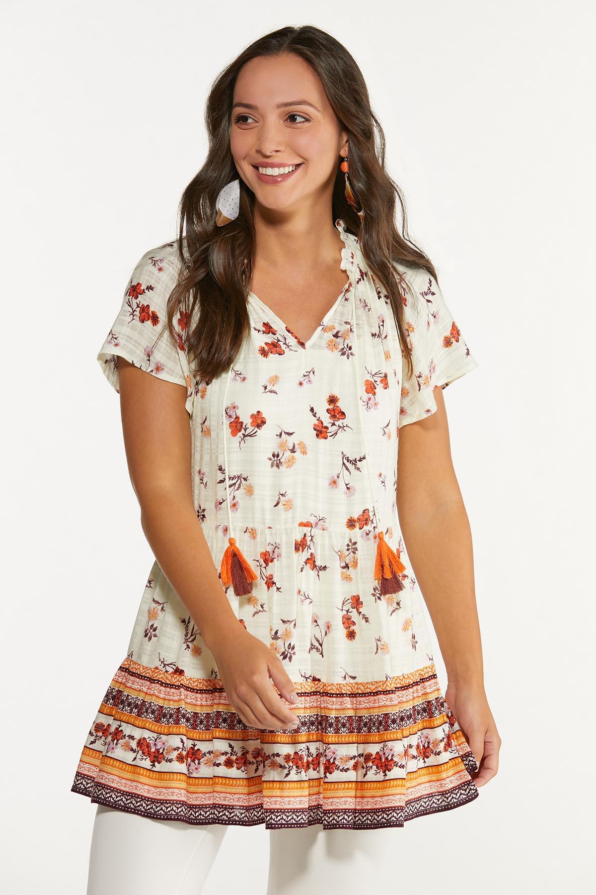 Plus Size Tasseled Fresh Floral Tunic