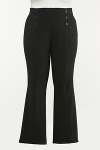 Plus Size Sailor Button Pull-On Pants