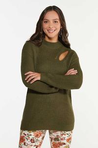 Plus Size Olive Cutout Sweater
