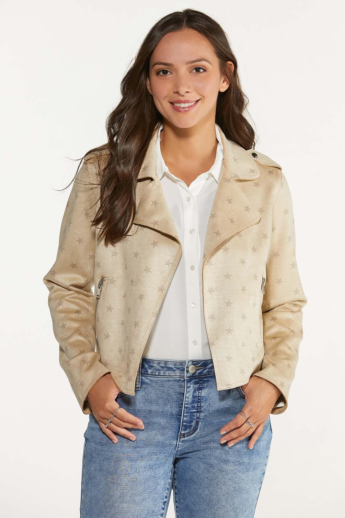 Faux Suede Star Jacket